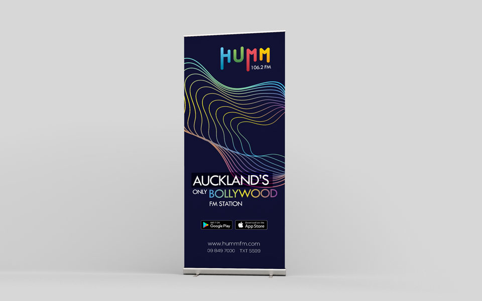 standee design for humm fm radio station in new zealand