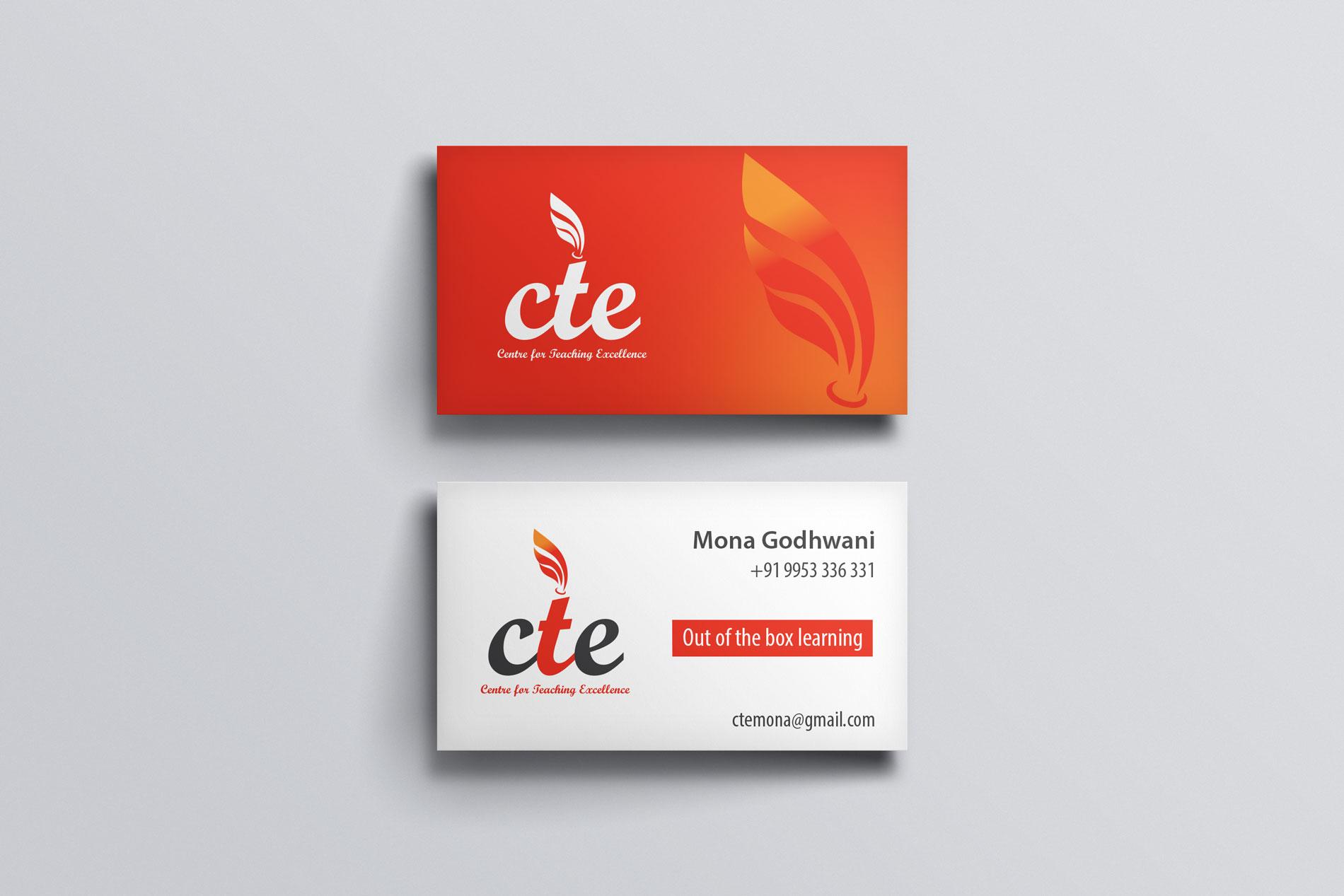 Business card design for CTE - education institute