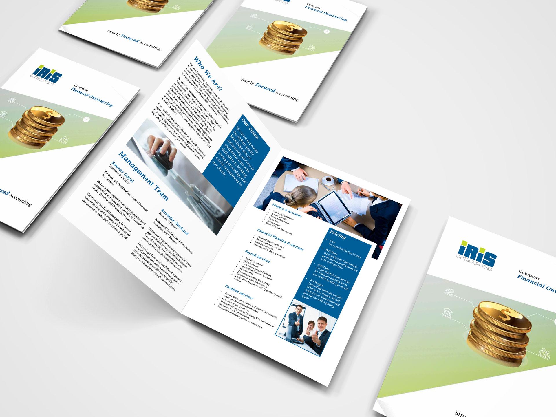 brochure design for iris outsourcing