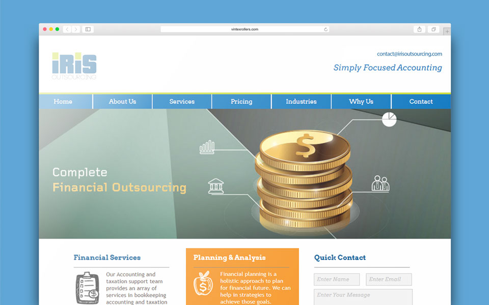 IRIS Outsourcing - financial firm web design
