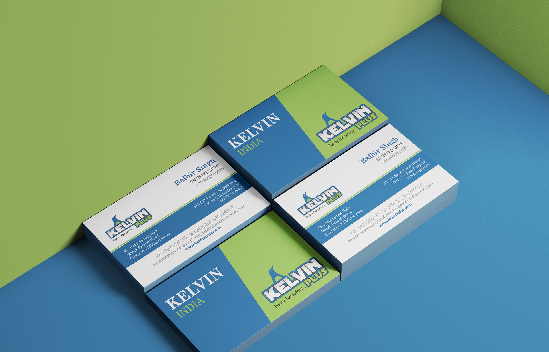 business card design for kelvin plus - water treatment company