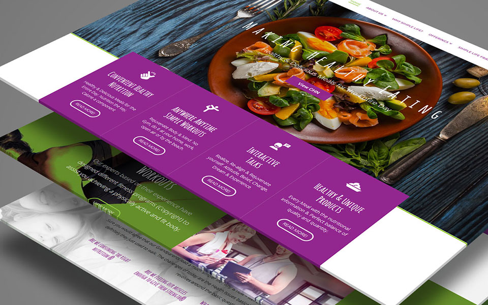 web design for simple life, health and nutrition brand