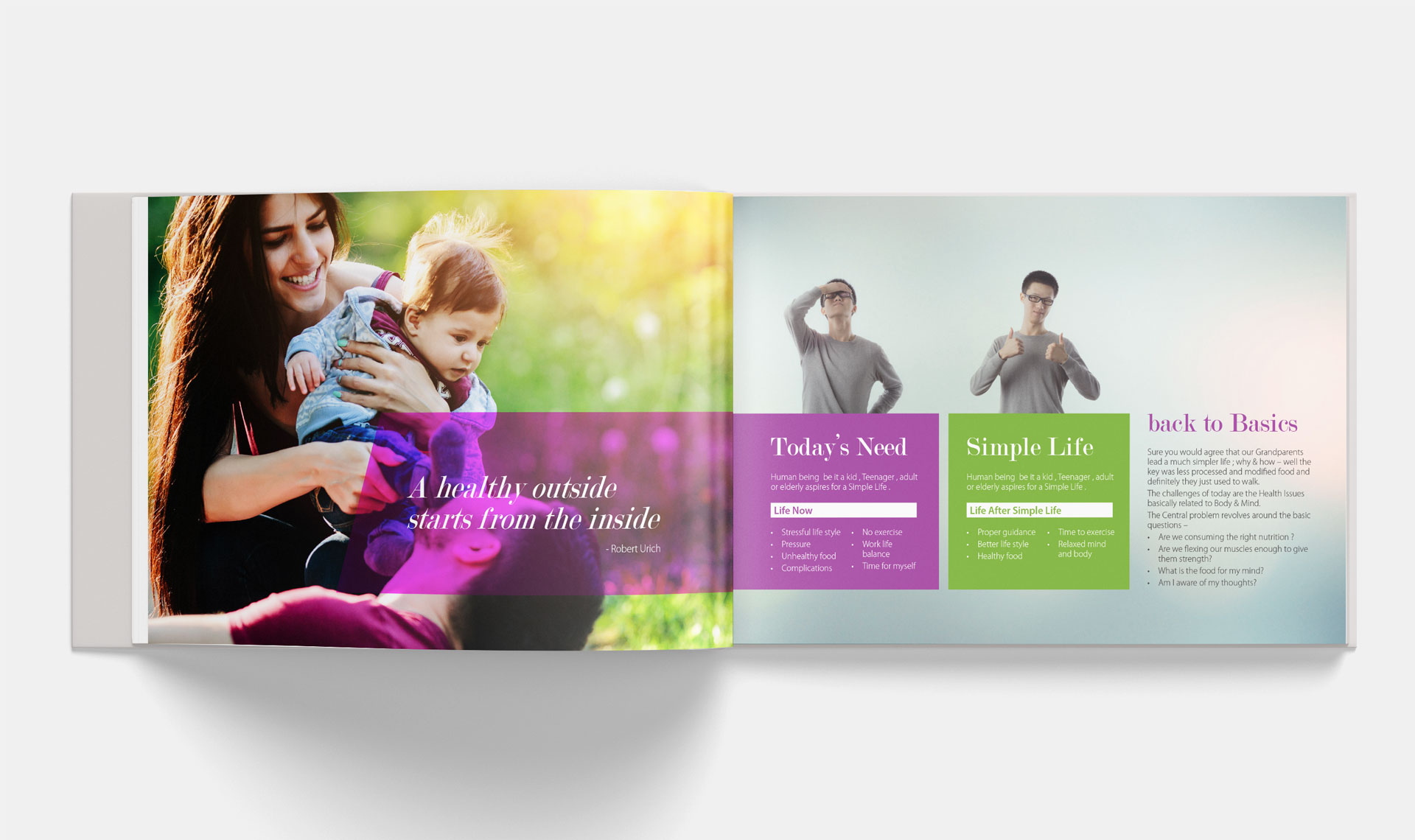 brochure design spread simple life