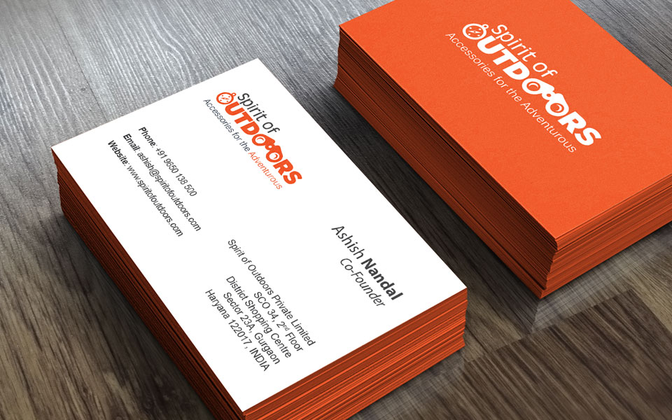 business card design - spirit of outdoors, travel accessories brand